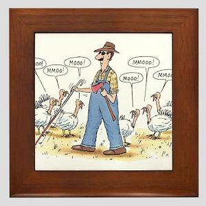Thanksgiving Mooo Framed Tile