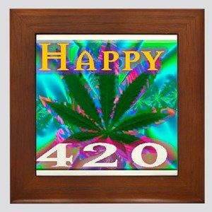 happy 420 Framed Tile