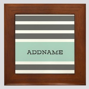 Gray and Mint Stripes Personalized Framed Tile