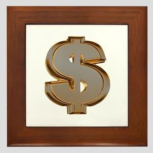 Dollar Signs Framed Tile