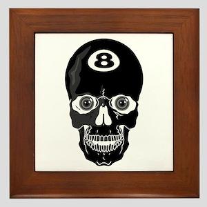 Eight Ball (8 Ball) Skull Framed Tile