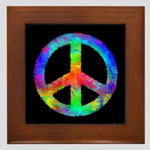 Multicolored Peace Sign Framed Tile