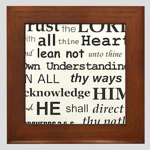 Proverbs 3:5-6 KJV Dark Gray Print Framed Tile
