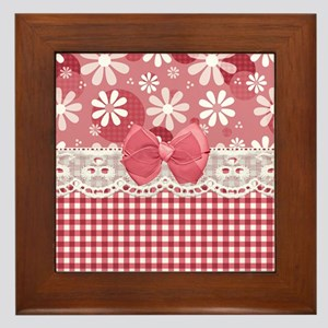 Pretty Pink Gingham Daisies Framed Tile