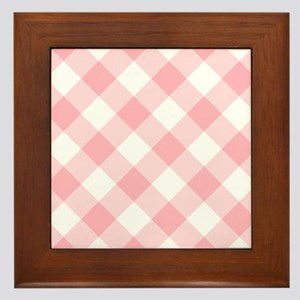 Light Pink and White Gingham Framed Tile