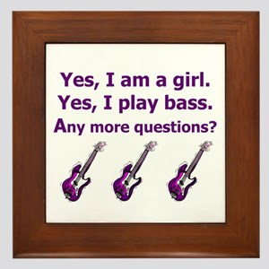 Yes I am a girl Play Bass Purple with bass Framed