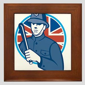 British Bobby Policeman Truncheon Flag Framed Tile