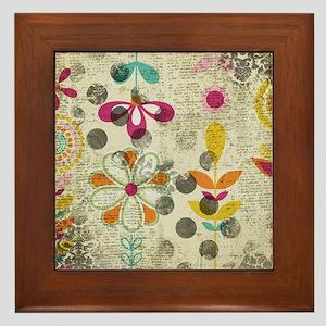 Bohemian Boho Flowers Framed Tile