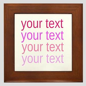shades of pink text Framed Tile
