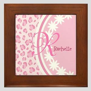 Stylish Pink and White Monogram Framed Tile