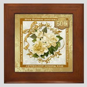 Floral Gold 50th Wedding Anniversary Framed Tile