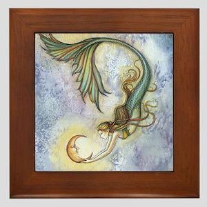 Deep Sea Moon Mermaid Fantasy Art Framed Tile