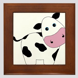 Cute Black and White Cow Framed Tile