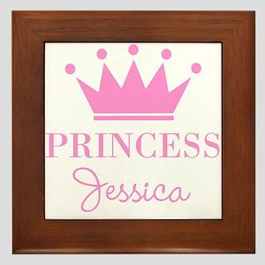 Personalized pink princess crown Framed Tile