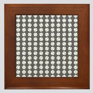 Sports: Baseball Ball Pattern Framed Tile