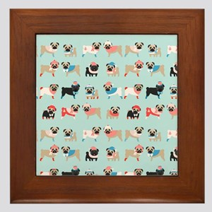 Winter Pugs Framed Tile