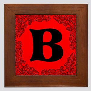 Red Personalized Monogram Initial Framed Tile