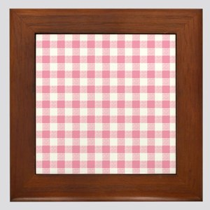 Pink Gingham Pattern Framed Tile