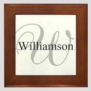 CUSTOM Initial and Name Gray/Black Framed Tile