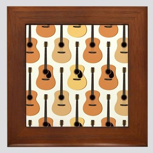 Acoustic Guitars Pattern Framed Tile