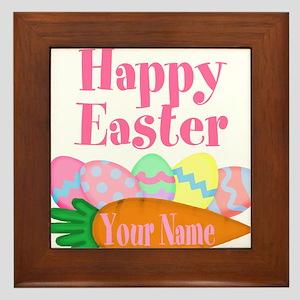 Happy Easter Carrot and Eggs Framed Tile