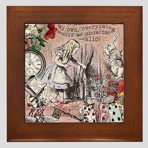 Alice in Wonderland Vintage Adventures Framed Tile
