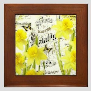 Vintage daffodils Framed Tile