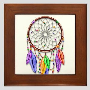 Dreamcatcher Rainbow Feathers Framed Tile