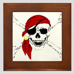 Pirate Skull and Bones, Red Bandanna Framed Tile