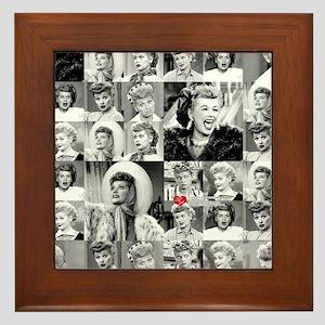 I Love Lucy Face Collage Framed Tile