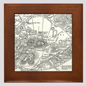 Ancient Athens Map Framed Tile