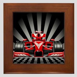 Formula 1 Red Race Car Framed Tile