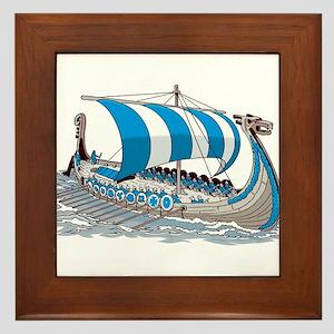 Blue Viking Ship Framed Tile