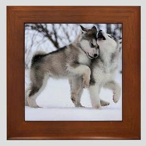 Wolves Playing Framed Tile