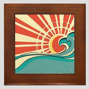 wave at dawn Framed Tile