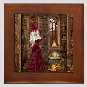 Witch with Candle Framed Tile