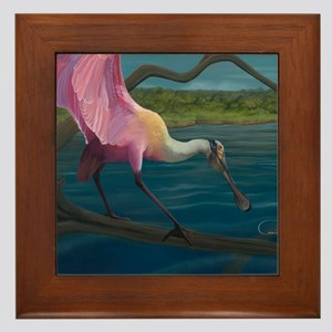 Swagger - Roseate Spoonbill Over Water Framed Tile