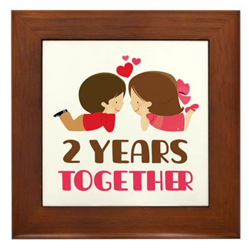 2 years together anniversary framed tile 2 years together couples