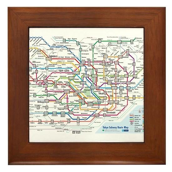 Tokyo Subway Map Framed.Tokyo Metro Map Framed Tile