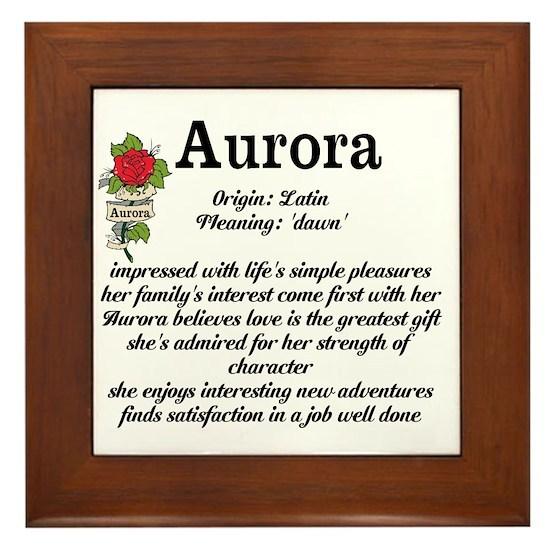 Aurora Name Meaning Design Framed Tile by prbnew2014 ...