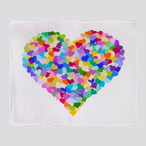 Rainbow Heart of Hearts Arctic Fleece Throw Blanke