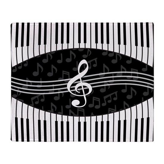 Stylish designer piano and music notes