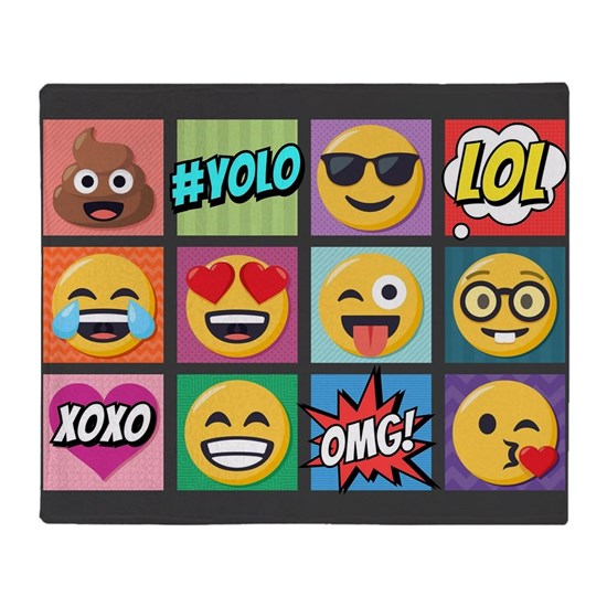 Emoji Collage Throw Blanket