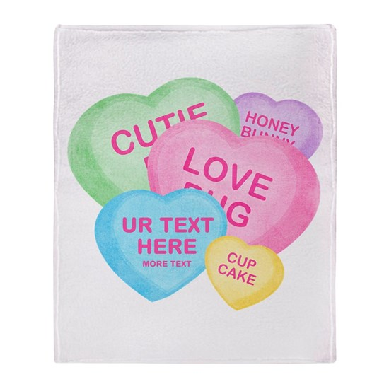 Fun Candy Hearts Personalized Arctic Fleece Throw By Pinkinkart Cafepress