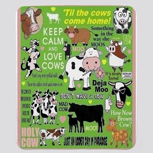 Crush On Cows Sherpa Fleece Throw Blanket