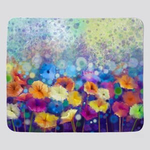 Floral Painting Sherpa Fleece Throw Blanket