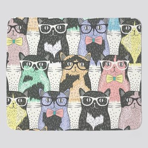 Hipster Cats Sherpa Fleece Throw Blanket