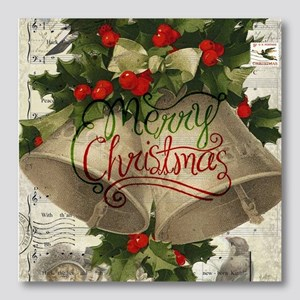 Merry Christmas vintage bells Photo Wall Tile