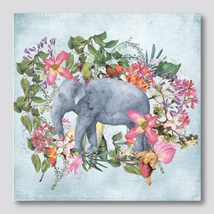 Elephant in jungle - watercolor ar Photo Wall Tile
