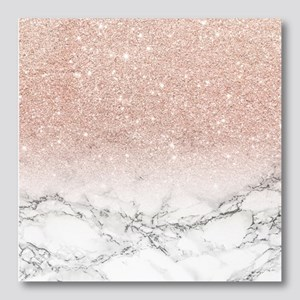 Faux rose pink glitter ombre white Photo Wall Tile